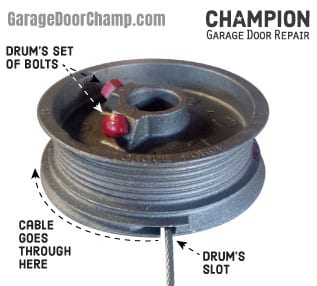 Garage Door Lift Cable Drum - Front