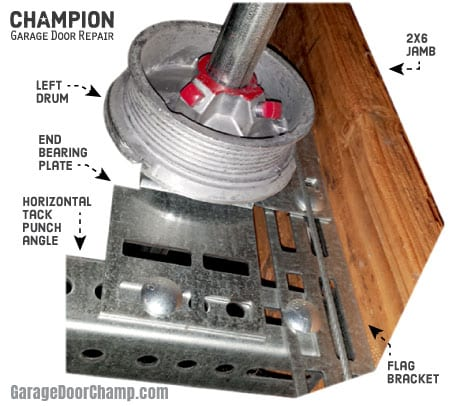 Garage Door Lift Cable Drum and End Bearing Plate Relations
