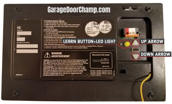 Garage Door Opener - Back Side
